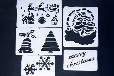 Рождественские украшения (Набор бумажных трафаретов размер 53 см на 40 см)