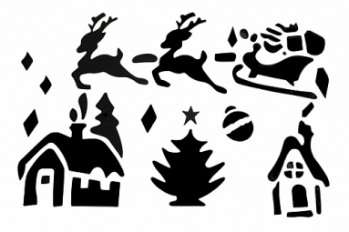 Рождественская декорация (Набор трафаретов из 6 штук)