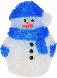 "Фигура акрил. ""Снеговичок голубой"" 13х18х22 см, 15 LED, 220V"