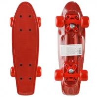 """Пластик. мини скейтборд красный, разм. деки 17""""х5"""", подвеска-цветн. бабоч. PP, колеса PVC 50х36 мм, подшипники 608Z."""