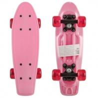"Пластик. мини скейтборд розовый, разм. пластик. деки 17""х5"", подвеска-чёрн. бабоч. PP, колеса прозрач"