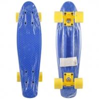 """Пластик. скейтборд синий, разм. деки 22""""х6"""", подвеска-усил. цветн. PP, колеса PVC 60х45 мм, подшипники"""