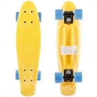 "Пластик. скейтборд жёлтый, разм. деки 22""х6"", подвеска-Al, колеса PU 60х45 мм, подшипники ABEC-5."