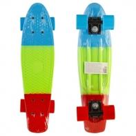 """Пластик. скейтборд трёхцветный, разм. деки 22""""х6"""", подвеска-Al усилен. , колеса PU 60х45 мм, подшипни"""