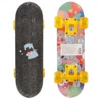 """Скейтборд разм. деки 17""""х5"""", 9-сл. кит. клён, подвеска- усилен. цветн. PP, колеса прозрач. PVC 50х36 мм"""