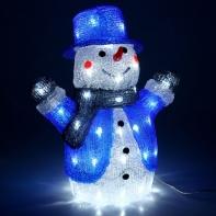 "Фигура акрил. ""Снеговик в шляпе"" 32х19х41 см, контроллер с димером, 56 LED, 220V"