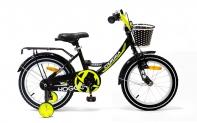 """16"""" Велосипед HOGGER """"Caruna"""" рама:сталь/ручной и ножной тормоз/доп.колеса, корзина, черный-лайм"""
