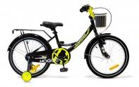 """18"""" Велосипед HOGGER """"Caruna"""" рама:сталь/ручной и ножной тормоз/доп.колеса, корзина, черный-лайм"""
