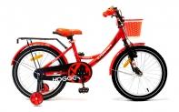 """18"""" Велосипед HOGGER """"Caruna"""" рама:сталь/ручной и ножной тормоз/доп.колеса, корзина, красно-черный"""