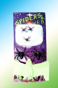 Набор паутина с паучками и летучей мышью