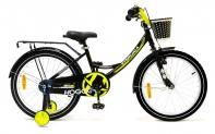 """20"""" Велосипед HOGGER """"Caruna"""" рама:сталь/ручной и ножной тормоз/доп.колеса, корзина, черный-лайм"""