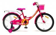 """20"""" Велосипед HOGGER """"Caruna"""" рама:сталь/ручной и ножной тормоз/доп.колеса, корзина, розовый"""