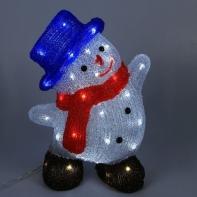 """Фигура акрил. """"Снеговик в шляпке большой"""" 21х30х40 см, контроллер с димером, 50 LED, 220V"""