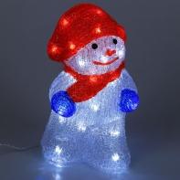 "Фигура акрил. ""Снеговик с шарфиком"" 13х15х25 см, контроллер с димером, 30 LED, 220V"