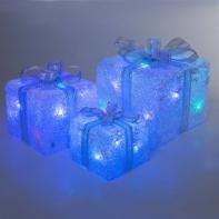 "Фигура акрил. ""Подарки"" Кубы сер. лента15х20х25 см,(3хАА не в компл.) USB, 60 LED, МУЛЬТИ"