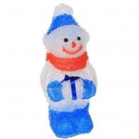 "Фигура акрил. ""Снеговичок голубой с подарком"" 15х15х30 см, 15 LED, 220V"