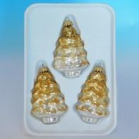 Набор из 3шт.(шишки-4,5*4,5*10см, сосульки-3*3*14см, елки-6*5*9см) золотые