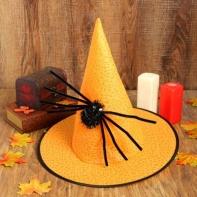 """Карнавальная шляпа """"Конус"""" с пауком, цвет оранжевый"""