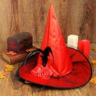 """Карнавальная шляпа """"Ведьмочка"""" с фатой, цвет красный"""