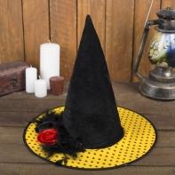 """Карнавальная шляпа """"Ведьмочка"""" с цветком, р-р 56-58 см"""