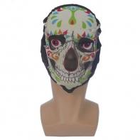 """Карнавальная маска текстиль """"Череп цветной"""""""
