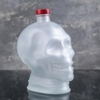 "Бутылка стеклянная, матовая 1 л ""Череп"", цвет белый"