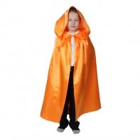 Карнавальный плащ оранжевый с капюшоном,атлас,длина 85см