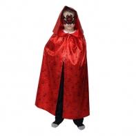 Карнавальный плащ паутина на красном с копюшоном, маска, атлас, длина 85 см