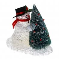 "Фигура акрил. ""Снеговик с елкой"" 22х22 см, LED (батарейки АА 3 шт.) БЕЛЫЙ"