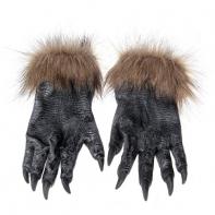 Перчатки монстра, черные с серым искусственным мехом L*