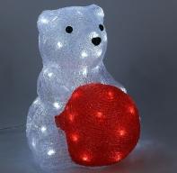"Фигура акрил. ""Медведь сидячий с шариком"" 25х22х30 см, контроллер с димером, 40 LED, 220V"