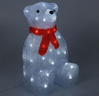 """Фигура акрил. """"Медведь сидячий большой"""" 21х25х40 см, контроллер с димером, 50 LED, 220V"""