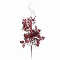 Декор веточка с ягодами 43 см красная в снегу