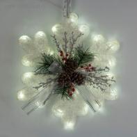 "Фигура акрил. ""Снежинка с шишками белая"" 45х7х45 см,20 ламп,220V, ТЕПЛ. БЕЛ"