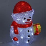 "Фигура акрил. ""Снеговик с подарком"" 21х25х30 см, контроллер с димером, 40 LED, 220V"