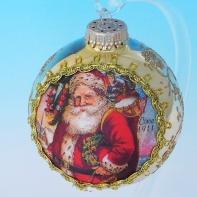 """Новогодний шар """"Шедевр"""" на шелке, в ассортименте, D=75 мм."""