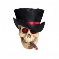 """Подвесной череп """"Курильщик в цилиндре"""" выс 25 см"""