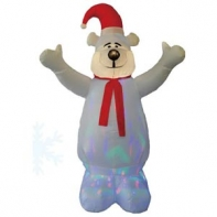 """Надувная фигура """"Белый медведь с разноцветной подсветкой"""", 1,8 м"""