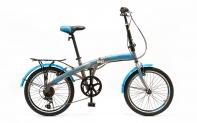 "20'' Велосипед HOGGER GOLDBUG (20"", HOGGER, 7-ск, складная рама, сталь, V-типа, (СЕРЫЙ/ГОЛУБОЙ))"