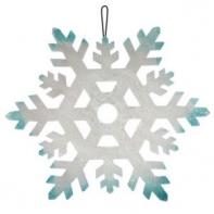 Пенопластовая снежинка серебряно-голубая, Ø 23 см.
