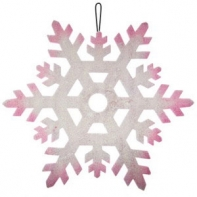 Пенопластовая снежинка серебряно-розовая, Ø 23 см.