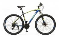 """27,5"""" Велосипед HOGGER REDSON, 21-ск, горный, 19, алюминий, Disc, черно-синий-жёлтый"""