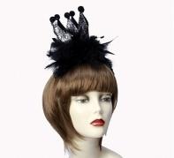 """Ободок """"Королева Черепов"""" с перьями, черная"""