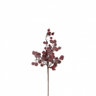 Декор веточка с ягодами 43 см красная заснеженная