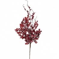 Декор веточка с ягодами 74 см красная в снегу