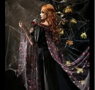 """Платье """"Черная Готика"""" со шлейфом чёрное с розовым"""