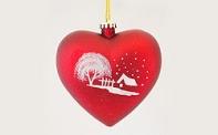"""Новогодняя игрушка матовое """"Сердце"""" с рисунком, диаметр 300 мм"""