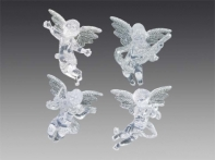 Херувим прозрачно-серебряный, асс из 4-х, 9 см