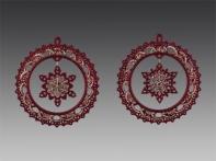 Композиция со снежинкой красно-золотая, асс. из 2-х, 10х10 см