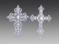 Крест серебряный искристый со стразами, асс. из 2-х, 9х12 см